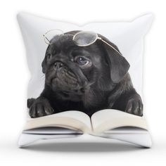 Black Pug Glasses Pillow Table Cushion Cover Case by TheShedOutlet