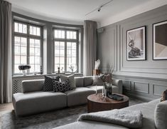 Inside a Refined Stockholm Apartment in Shades of Grey - Nordic Design Living Room Interior, Living Room Decor, Living Rooms, Stockholm Apartment, Home Room Design, Kitchen Design, Condo Living, Nordic Design, Design Design