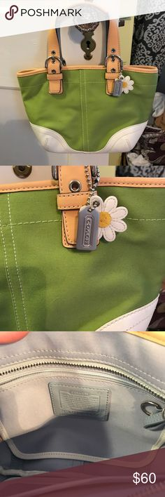 "Coach Handbag and Matching Wristlet This is such a cute set. This small handbag is a nice bright green with a daisy accent and a white leather bottom. The inside is light blue. This handbag measures 12""w x 8"" h with a LAN adjustable height handle from 6-8"". This set is in very good condition with minor signs of use. I included a pic of the bottom of the bag. Coach Bags Mini Bags"