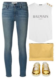 """""""gold and Balmain"""" by ecem1 ❤ liked on Polyvore featuring Frame Denim, Balmain, Yves Saint Laurent, women's clothing, women, female, woman, misses and juniors"""