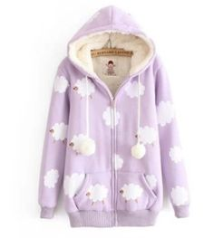 FREE Shipping Cloudy Sheeps Hooded Jacket Coat. Four Colors Available from Moooh!! Kawaii