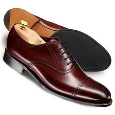 Charles Tyrwhitt Burgundy Berkeley calf toe cap brogue shoes. $349