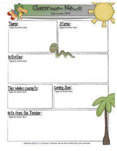 Rainforest/Jungle Newsletter for Word_Generation 1 Newsletter Ideas, Classroom Newsletter, Newsletter Templates, Classroom Setup, Kindergarten Classroom, Classroom Organization, Childcare Activities, Educational Activities, Kindergarten Reading Log