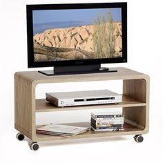 TV Rack Beistelltisch Lowboard Couchtisch Wohnzimmertisch MIAMI 1 Regalboden 4 Doppelrollen In Sonoma