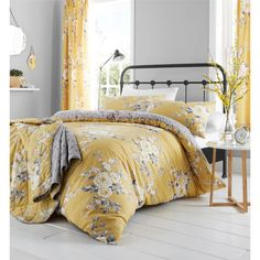 Catherine Lansfield Bedding Sets & Duvet Covers Home, Furniture & DIY King Duvet Cover Sets, Double Duvet Covers, Bed Duvet Covers, Duvet Sets, Floral Duvet Covers, Canterbury, Yellow Bedding, Floral Bedding, Mustard Bedding
