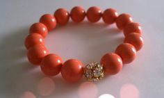 Coral Bracelet, Pearl Bracelet, Coral Jewelry ,Pave Rhinestone Bracelet, Bridesmaid Gift, Bridesmaid Gifts, Arm Candy on Etsy, $25.00