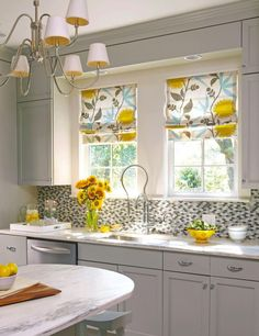 Small kitchen update: Modern-retro material for Roman shades.