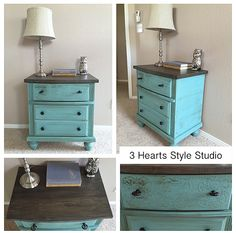 Superbe Side Table| Nightstand| Painted Furniture| Refinished Furniture| Teal|  Blue| Shabby