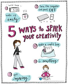 5 Ways to spark the inner creative in you! Do you love (or want to love) being creative but can't find the time or motivation? These ideas will help you—read more when you click the image! Diy Arts And Crafts, Creative Crafts, Easy Crafts, Trending Crafts, Craft Bags, All Things Cute, How To Wake Up Early, Writing A Book, 5 Ways