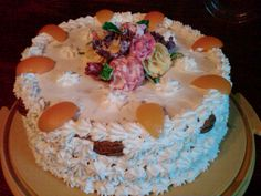 Apricot pecan torte with gum paste flowers