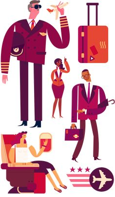 Airline Characters - Owen Davey Illustration | REF: Participaz