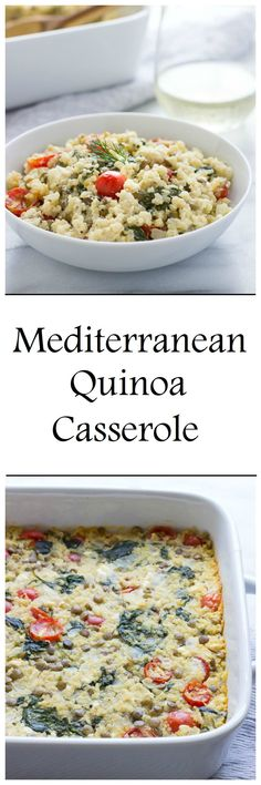 Mediterranean Quinoa Casserole is a healthy and flavorful dinner that's less than 200 calories per serving! #gluten-free #vegetarian