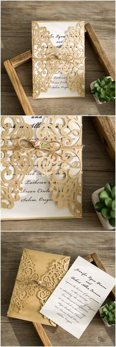 elegant gold laser cut wedding invitations with a touch of blush pink
