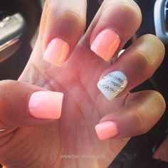 Coral | 16 Easy Easter Nail Designs for Short Nails | Cute Spring Nail Art Ideas… http://www.wowhairstyles.site/2017/07/17/coral-16-easy-easter-nail-designs-for-short-nails-cute-spring-nail-art-ideas/