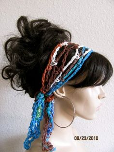 Love this style.  Peruvian Hand Crochet Gypsy Style Hair Band and Scarf $10 I would so do this