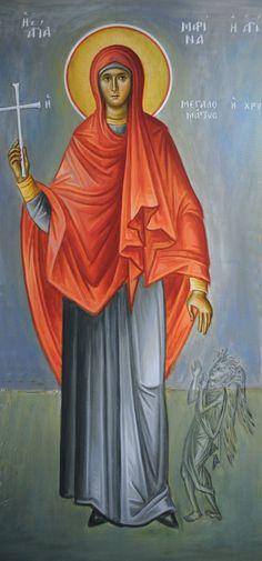 Αγία Μαρίνα / Saint Marina Orthodox Christianity, Religious Icons, Orthodox Icons, Saints, Projects To Try, Disney Characters, Painting, Medicine, Fresco
