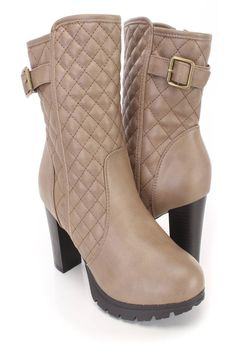 These sexy and stylish high heel booties feature a faux leather upper with a stitched quilted design, round closed toe, strap design with a buckle accent, inner side zipper closure, smooth lining, and cushioned footbed. Approximately 4 inch heels.http://www.amiclubwear.com/shoes-booties.html