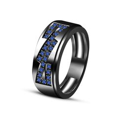 New Blue Sapphire Engagement Band Ring in Black Gold Over 925 Sterling For Men's #adorablejewelry #EngagementBandRing