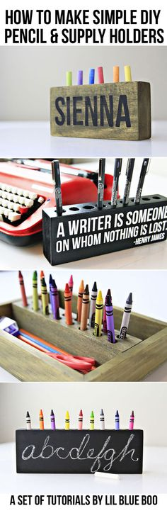 How to make a pencil holder or crayon holder via lilblueboo.com #creativespace #artroom #organization
