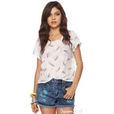 White Burnout Feather Tee A burnout top featuring a whimsical feather print. It has a round neckline, short sleeves, and high-low hemline. Relaxed fit. Semi-sheer. Lightweight. Knit. Size medium. Only worn a few times. Good condition. Forever 21 Tops