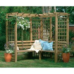 magnifique suggestion pergola jardin avec banc et déco florale, coin paisible pour passer un fantastique après-midi en plein air