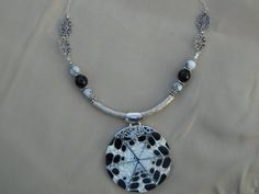 Sterling silver black and white shell on necklace by Jadelsjewelry, $145.00