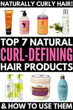 Looking for the best NATURAL curly hair products? Look no further! We've rounded up 7 naturally fabulous curl defining products to help eliminate frizzy hair, enhance curl definition, and increase bounce, and we're teaching you how to use them for maximum Curly Hair Tips, Curly Hair Care, Frizzy Hair, Natural Hair Tips, Curly Hair Styles, Natural Hair Styles, Enhance Natural Curls, Frizzy Curly Hair Products, Best Wavy Hair Products
