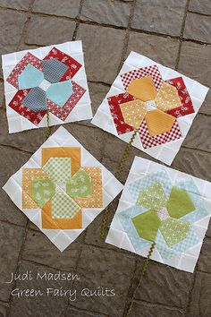 "Flower Patch QAL These blocks are from the pattern ""Flower Patch"" by Judi Madsen of Green Fairy Quilts"