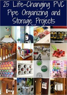 Do you need some creative storage ideas? PVC pipes are great for some creative and great looking storage solutions! Chick out thiese 25 Life-Changing PVC Pipe Organizing and Storage Projects that are really good and creative ways to organize your home! Pvc Pipe Crafts, Pvc Pipe Projects, House Projects, Diy And Crafts Sewing, Diy Crafts, Decor Crafts, Pvc Pipe Storage, Garage Storage, Creative Storage