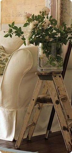 Repurposed Step Ladder Side Table