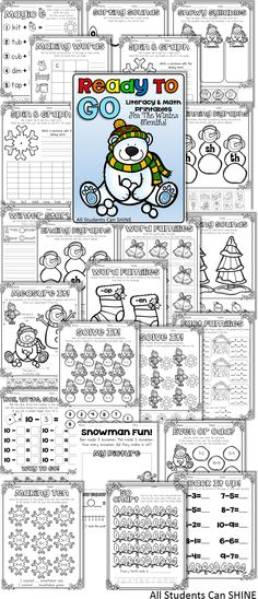 Ready To GO Printables For The Winter **NO Prep Literacy & Math Activities**