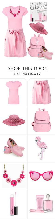 """""""Pink- Head to Toe"""" by ragnh-mjos ❤ liked on Polyvore featuring Boutique Moschino, Peter Grimm, Kipling, TOMS, R.J. Graziano, Havaianas, Lancôme, outfit and monochromepink"""