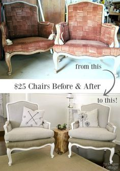 $25 Craigslist chairs before and after- With simple sewing and no previous major upholstery skills, these 1970s French chairs got a fabulous makeover and now look like $1200 Restoration Hardware chairs!