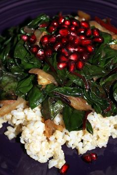 Phase 1: Caramelized Onion, Swiss Chard, and Pomegranate Seeds Over Brown Rice