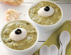 Matthew Mead's Broccoli Soup with Eyeballs from Epicurious #recipe #halloween