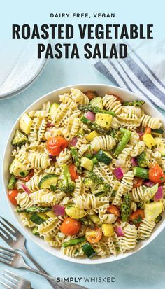 This roasted vegetable pasta salad recipe is fun twist on a summer classic with roasted vegetables and pasta tossed in Italian dressing and served cold. Roasted Vegetable Pasta, Vegetable Pasta Salads, Grilled Vegetables, Veggie Food, Veggies, Food Food, Best Pasta Salad, Pasta Salad Recipes, Cold Pasta Recipes