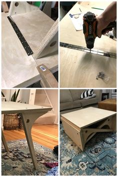 Convertible Coffee Table Tutorial and Plans! - Reality Daydream - Convertible Coffee Table Tutorial and Plans! Diy Furniture Projects, Plywood Furniture, Table Furniture, Folding Furniture, Convertible Coffee Table, Convertible Furniture, Coffee Table To Dining Table, Mid Century Coffee Table, Beds For Small Spaces