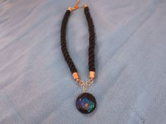 Black, Green and Blue Pendant Necklace