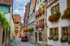 Street of Rothenburg - Rothenburg ob der Tauber is a amazing and romantic example of the beautiful medieval architecture. The streets inside the walls are marvelous, Germany