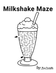 Mazes For Kids Printable, Dot To Dot Printables, Free Printables, Kids Mazes, Preschool Learning Activities, Kids Learning, Milkshake, English Worksheets For Kids, Kids Worksheets