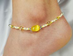 Anklet Ankle Bracelet Bright Yellow Cat Eye by ABeadApartJewelry, $13.00