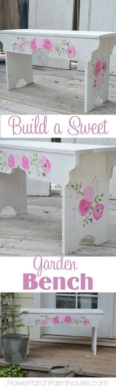 Come build this sweet little bench, pattern included and links to how to paint it with roses. Such a fun DIY! FlowerPatchFarmhouse.com