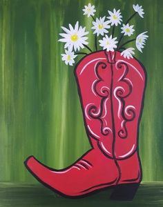 """""""Red Boot Bouquet"""" and many other paintings are trending this month. Check them out and see when they'll be at an event near you!"""