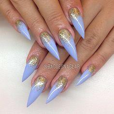 Baby Blue + Gold Glitter Stiletto Nails