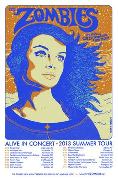 The Zombies, featuring Colin Blunstone & Rod Argent. Poster design: Mark Williamson (2013).