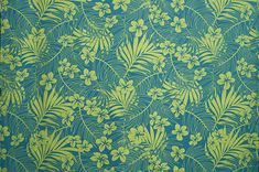 polyester and cotton fabric. Colors and shapes of this picture may vary from the original fabric. [Additional information below is based on a yard of this material] Hawaiian Print, Playsuit, Cotton Fabric, Teal, Yard, Tapestry, Shapes, Colors, Pictures