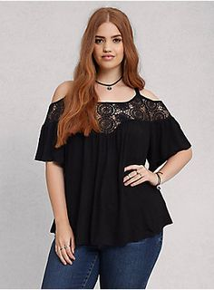 """<p>This top embodies #festivalgoals. Black jersey knit has an extra soft feel and a way cool drape thanks to a peasant blouse silhouette. Sheer crochet trims the neck and cold shoulder cutouts, adding a boho-babe filter to any Instagram-worthy outfit.</p><ul><li>Size 1 measures 27 1/2"""" from shoulder</li><li>Rayon/spandex</li><li>Hand wash cold, dry flat</li><li>Imported plus size top</li></ul>"""
