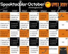 Spooktacluar October Upper Body Fitness Calendar. Another great monthly fitness calendar from ShrinkingJeans www.shrinkingjean... #exercise #calendar #spooktacularoctober