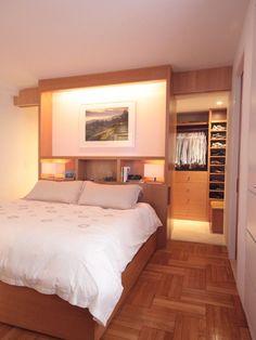 Wohnideen Schlafzimmer - den Platz hinterm Bett verwerten mit ankleideraum