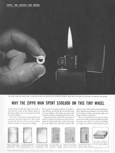 Vintage Zippo Advertisement from 1959. Why George Blaisdell spent 300k on a tiny wheel.